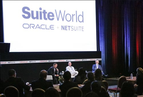 Mark Hurd, Evan Goldberg and EVP Jim McGeever at SuiteWorld 2017